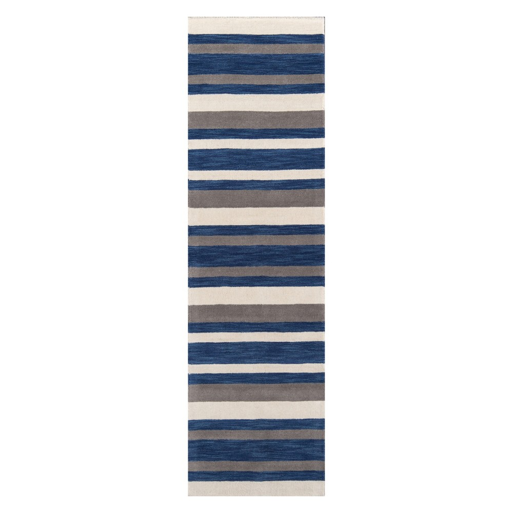 2'3X8' Stripe Tufted Runner Navy - Momeni, Blue