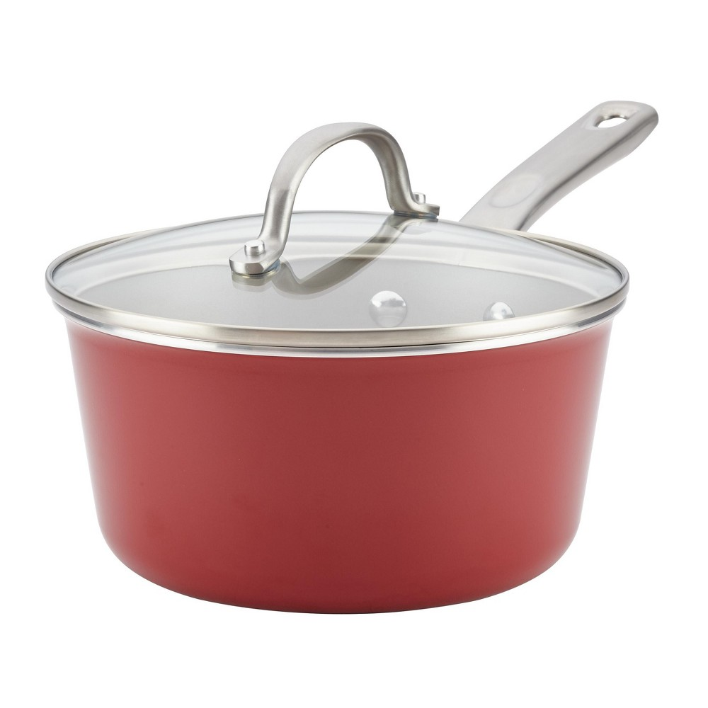Image of Ayesha Curry 3qt Home Collection Porcelain Enamel Nonstick Covered Saucepan, Sienna Red