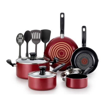 T-fal 12pc Simply Cook Nonstick Cookware Set Red