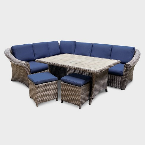 Walton 7pc Wicker Patio Sectional Set - Navy - Leisure Made - image 1 of 4