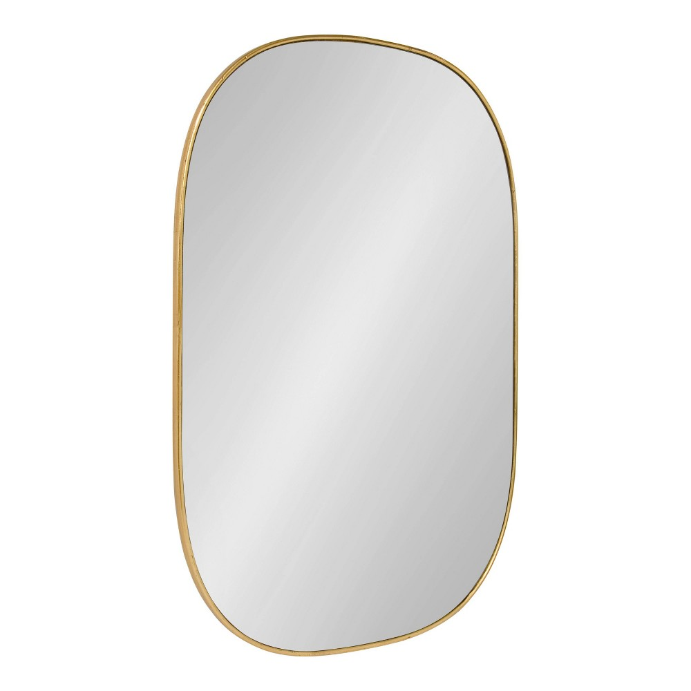 """Image of """"24""""""""x36"""""""" Caskill Rounded Rectangle Leaf Wall Mirror Gold - Kate and Laurel"""""""