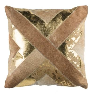 "Colma Metallic Cowhide Pillow - Beige/Gold - 20"" X 20""  - Safavieh"