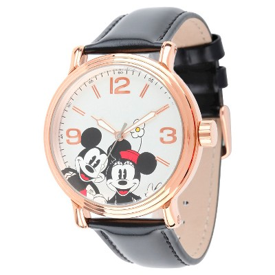Men's Disney Mickey and Minnie Shinny Vintage Articulating Watch with Alloy Case - Black
