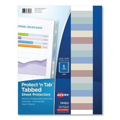 Avery Protect 'n Tab Top-Load Clear Sheet Protectors w/Five Tabs, Letter