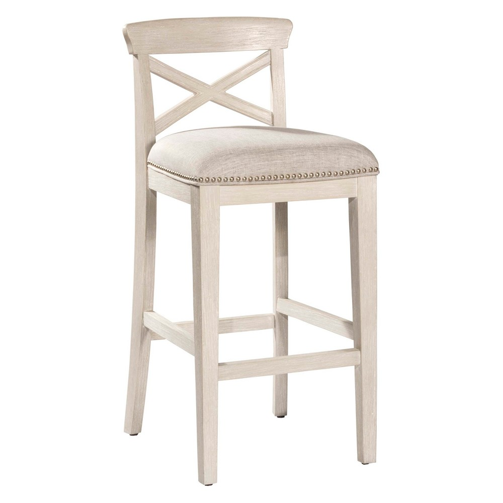 30 Bayview NonSwivel Bar Stool Set of 2 White /Silver - Hillsdale Furniture, Light Silver