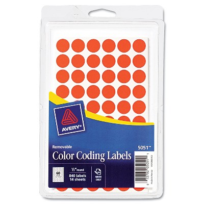 """Avery Handwrite Only Removable Round Color-Coding Labels 1/2"""" dia Neon Red 840/Pack 05051"""