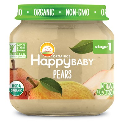 HappyBaby Fruit And Vegetable Snacks Pears Baby Food - 4oz