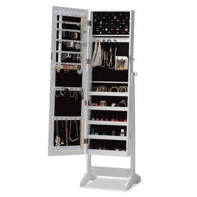 Alena Wood Free Standing Cheval Mirror Jewelry Armoire - Baxton Studio