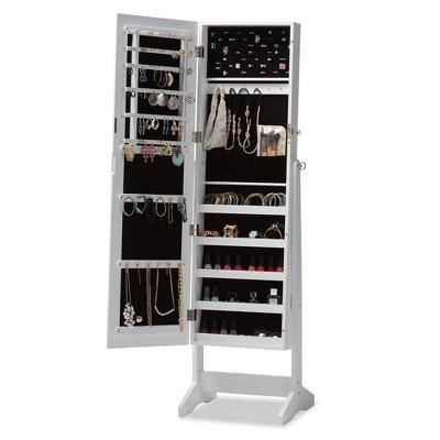 Alena Wood Free Standing Cheval Mirror Jewelry Armoire - White - Baxton Studio