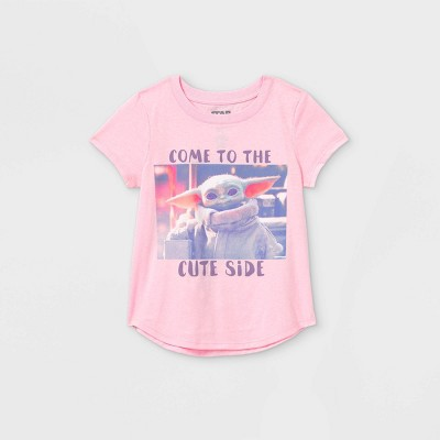 Girls' Star Wars Come To The Cute Side Short Sleeve Graphic T-Shirt - Pink