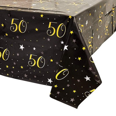 50Th Birthday Table Cloth Cover Party Decoration (3 Pack) 54 X 108 inches