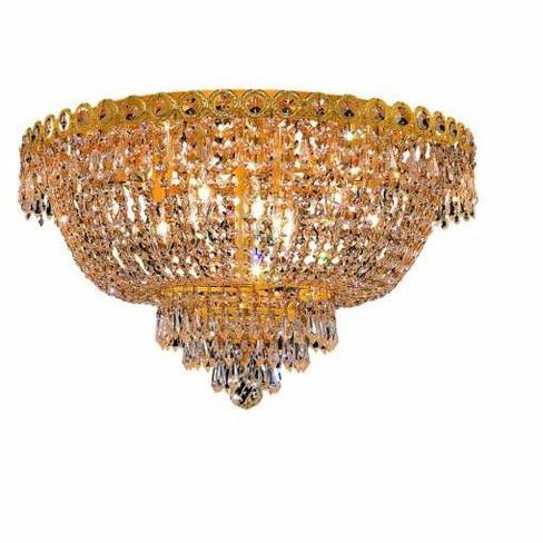 Elegant Lighting 1900F20G Century 9-Light, Single-Tier Flush Mount Crystal Chandelier, Finished in Gold - image 1 of 1