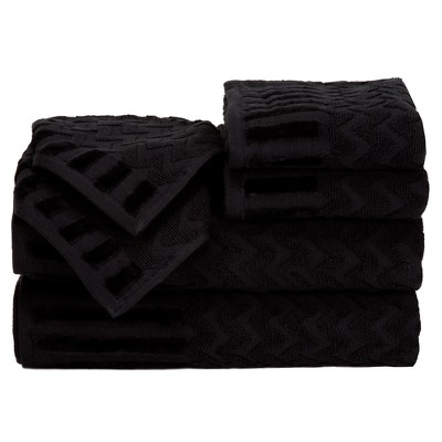 Chevron Bath Towels And Washcloths 6pc Black - Yorkshire Home