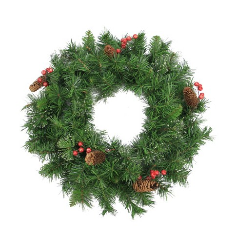 """Northlight 24"""" Unlit Iced Mixed Pine, Berry and Pine Cone Artificial Christmas Wreath - image 1 of 1"""