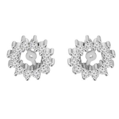 Pompeii3 1/2ct Diamond Earrings Jackets 14K White Gold  (5-5.5mm)