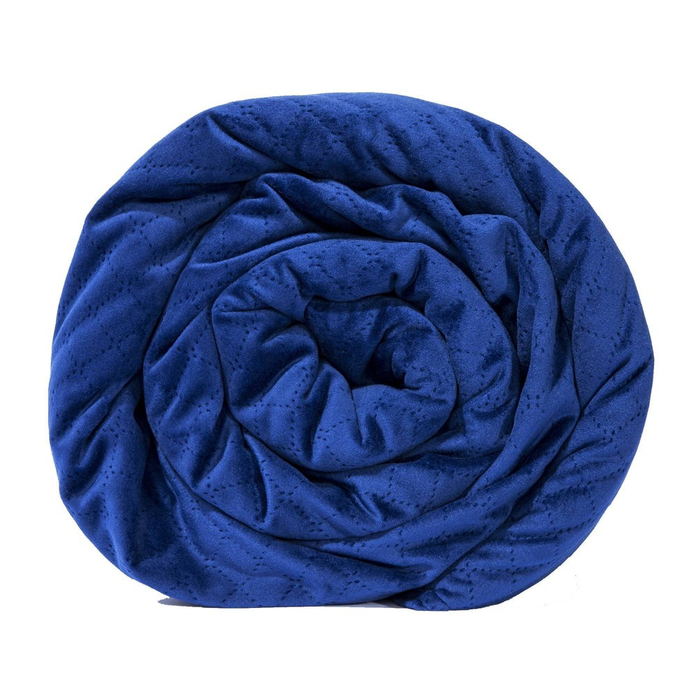 """Image of """"48"""""""" x 74"""""""" 20lbs Quilted Microfiber Weighted Blanket Navy - BlanQuil"""""""