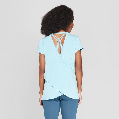 8ab6da38a470 Women s Short Sleeve Draped Back T-Shirt - C9 Champion® Aqua L   Target