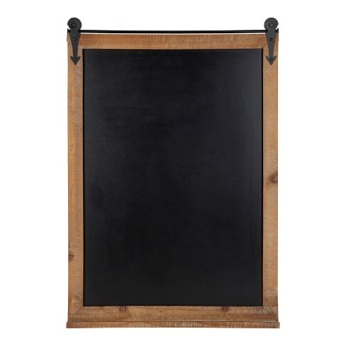 "22"" x 32"" Cates Barn Door Wood Framed Chalkboard Rustic Brown - Kate and Laurel - image 1 of 4"