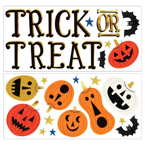 Halloween Window Gel Clings Trick or Treat/Jacks & Bats - Hyde and Eek! Boutique™ - image 1 of 2