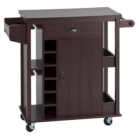Carolynn Plank Inspired Mobile Kitchen Cart Espresso Homes Inside Out Target