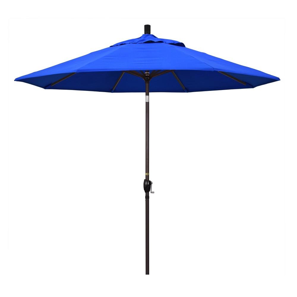 9' Aluminum Push Button Tilt Crank Patio Umbrella, Pacific Blue