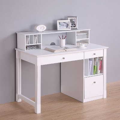 home office deluxe white wood storage computer desk with hutch rh target com white desk with storage shelves white desk with storage shelves