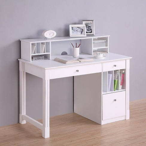 Home Office Deluxe White Wood Storage Computer Desk With Hutch Saracina Target