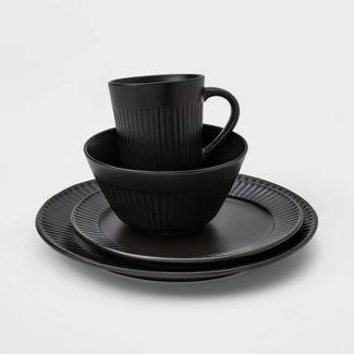 16pc Stoneware Harrison Dinnerware Set Black - Threshold™
