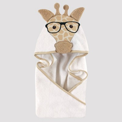 Hudson Baby Nerdy Giraffe Hooded Towel - Tan 33x33''