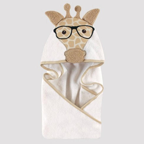 Hudson Baby Nerdy Giraffe Hooded Towel - Tan 33x33'' - image 1 of 1