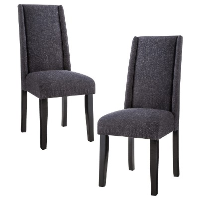Charlie Modern Wingback Dining Chair - Granite (Set of 2)