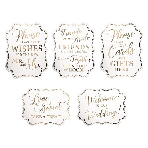 Lillian Rose White & Gold Wedding Signs Set Of 5 - image 1 of 6
