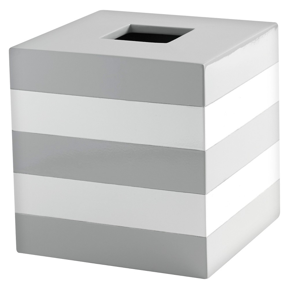 "Image of ""Lacquer Stripe Tissue Holder Gray/White - Cassadecor, Size: 5.47""""Large x 5.47""""W x 5.63""""H"""