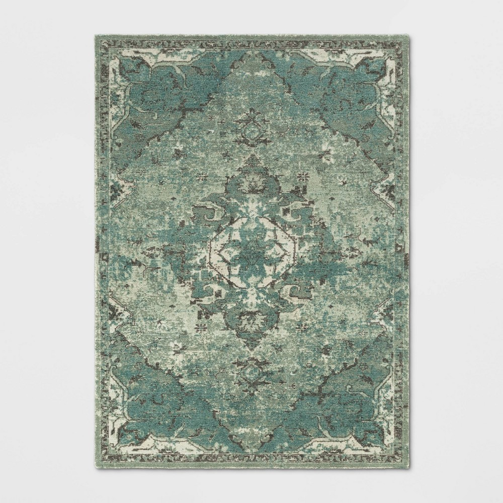 5'X7' Paisley Tufted Area Rug Green - Threshold