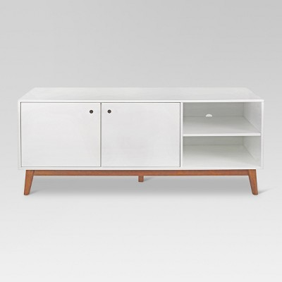 58  Amherst Mid Century Modern Two Tone Media Stand White/Brown - Project 62™