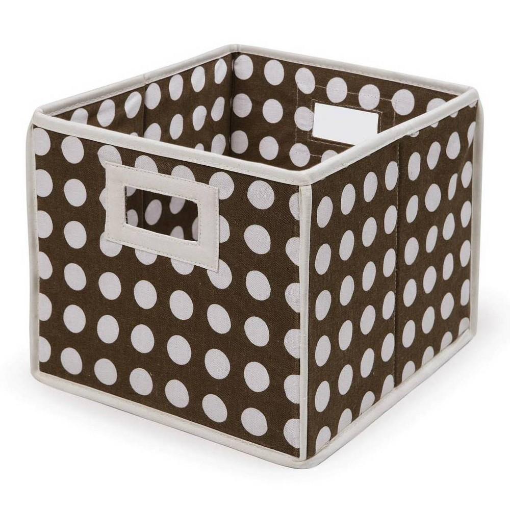 Image of Badger Basket Company Polka Dot Fabric Cube - Brown