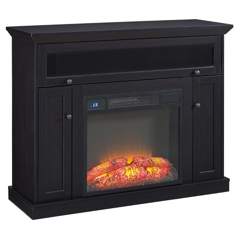 "Wood 50"" TV Stand With Fireplace Black - Home Source Industries - image 1 of 4"