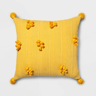 Square Cotton Ribbed Pillow with Tassels Yellow - Opalhouse™