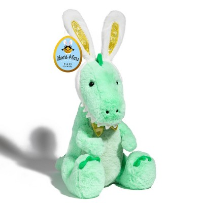 "FAO Schwarz Toy Plush T-Rex 12"" Easter with Bunny Ears"