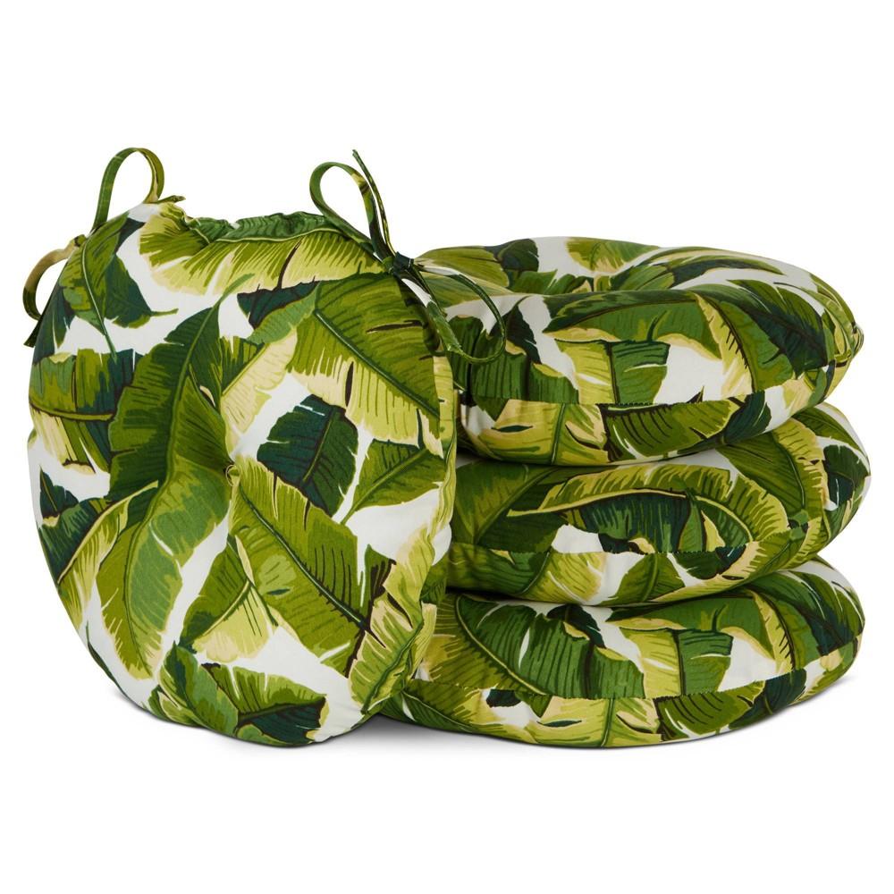 Image of 4pk Outdoor Bistro Seat Cushions Palm Leaves White - Kensington Garden