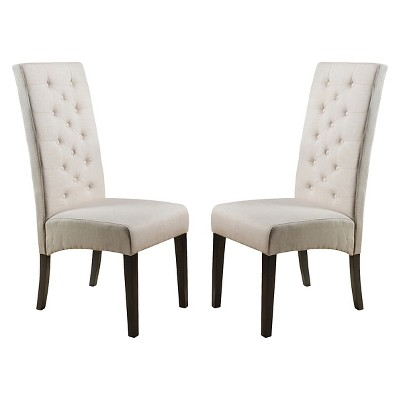 Set of 2 Linden Tall Back Natural Fabric Dining Chairs Natural - Christopher Knight Home