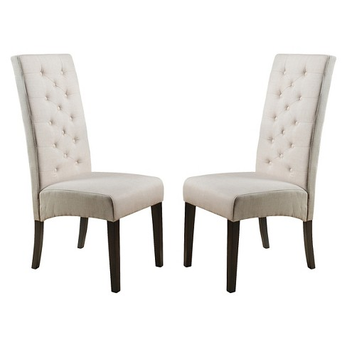 Linden Tall Back Natural Fabric Dining Chairs Set Of 2 Christopher Knight Home