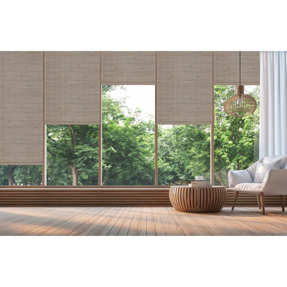 "Image of 33""x72"" Cordless Bamboo Roll Up Light Filtering Window Blinds Taupe (Brown) - Achim"