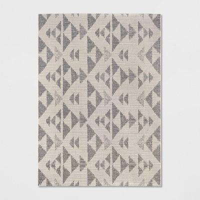 7'X10' Indoor/Outdoor Color Block Woven Area Rug Cream - Threshold™