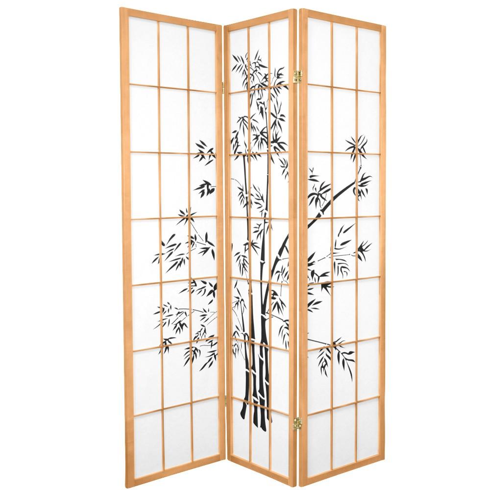Best Price Oriental Furniture 6 Tall Lucky Bamboo Shoji Screen 3 Panels Natural
