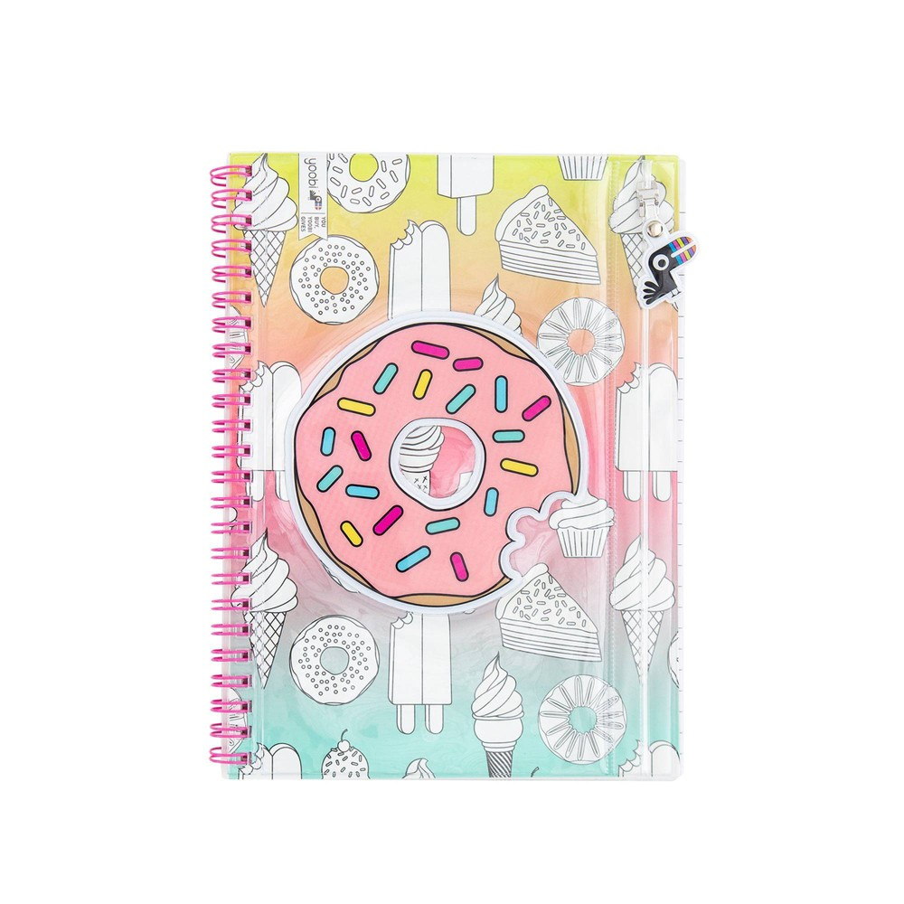 Image of 1 Subject College Ruled Donuts & Popsicle Spiral Notebook with Pouch - Yoobi