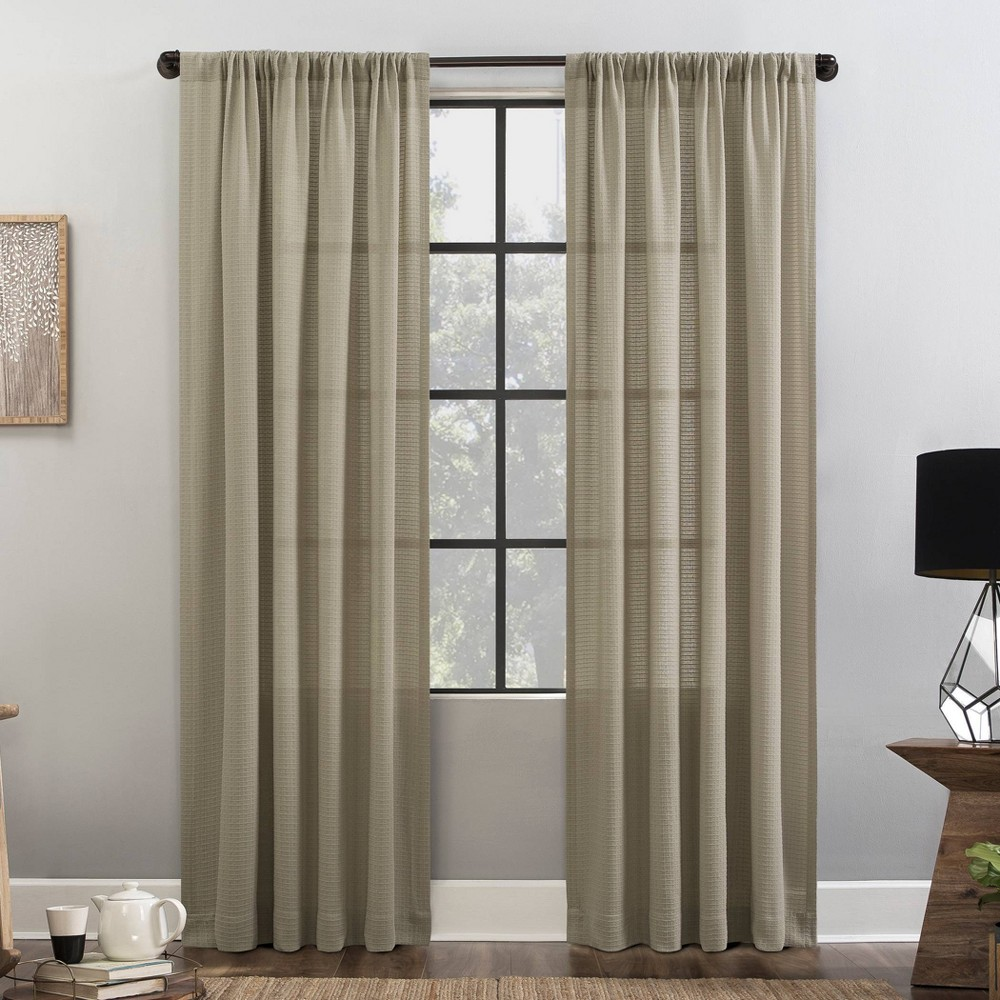 """Image of """"52""""""""x84"""""""" Waffle Texture Anti-Dust Light Filtering Curtain Panel Linen - Clean Window"""""""