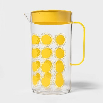 82oz Plastic Dot Print Beverage Pitcher Yellow - Sun Squad™