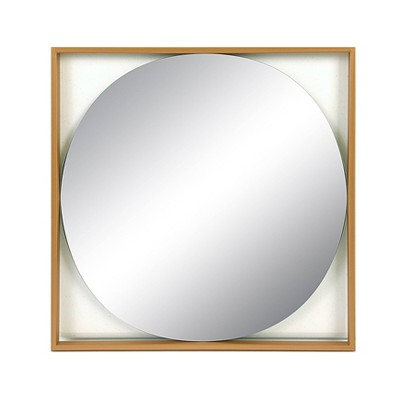 Square Metal Floating Wall Mirror Gold - 3R Studios