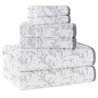 6pc Jacquard Bath Towel Set Gray/White - Alfred Sung Home